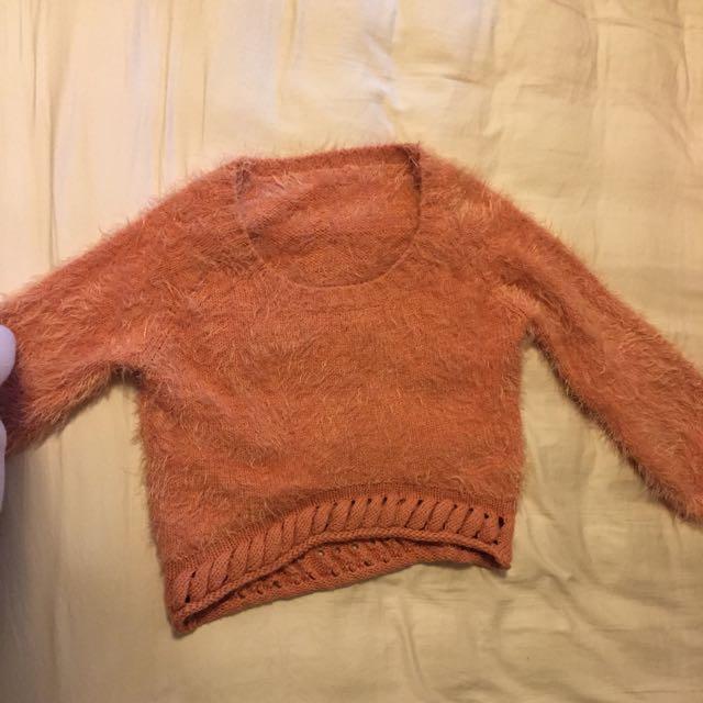 粉橘色海毛衣