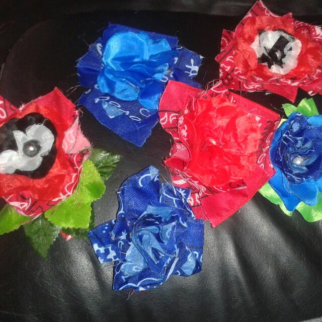 bandanna flower hair clips