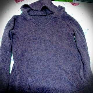 針織(密)圓領連帽長版衣 紅紫-F size