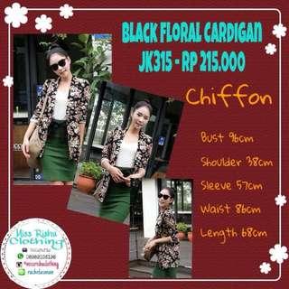 Black Floral Cardigan - JK315