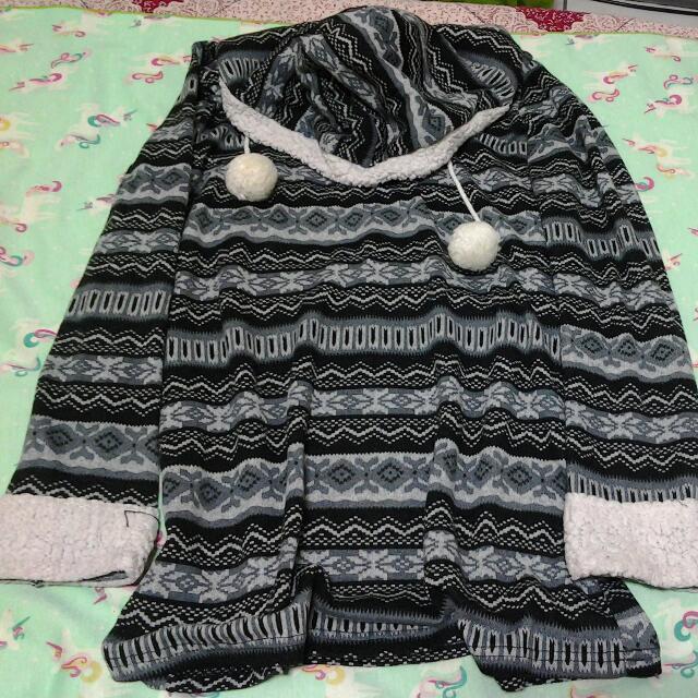 民族風條紋長版衣