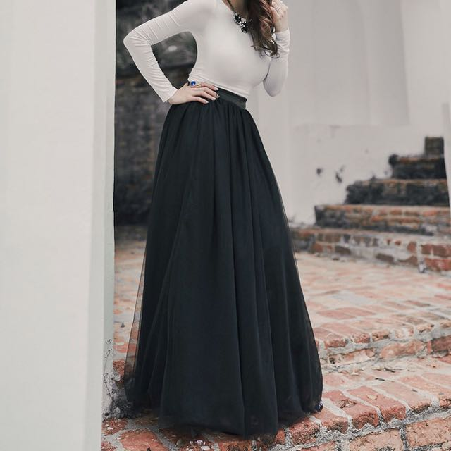 18d346958 Vaingloriousyou VGY Aurelie Ballerina Mesh Tulle Maxi Skirt in Black ...