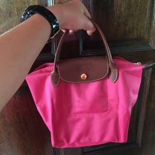 Authentic Le Pliage Small Short Handle Pink Longchamp