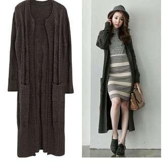 Lulus雙口袋麻棉超長版針織外套
