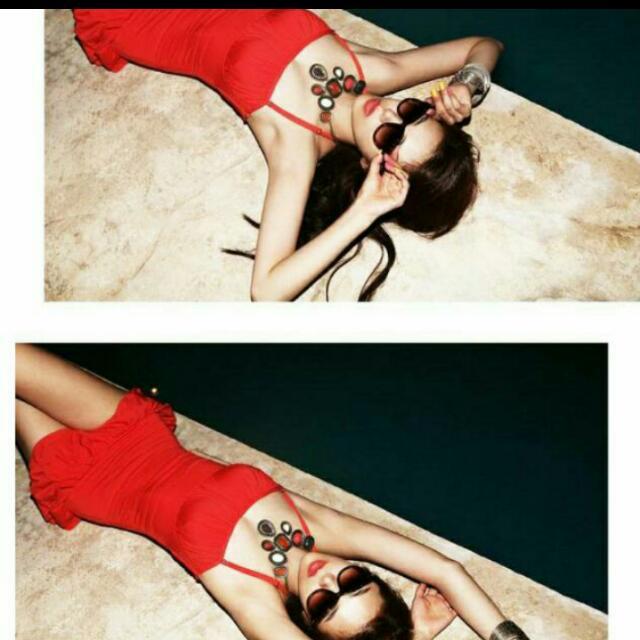 紅色連身露背泳衣(含運)