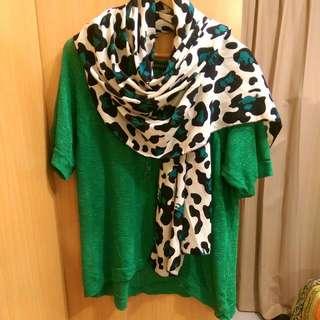 日本綠色針織外搭上衣