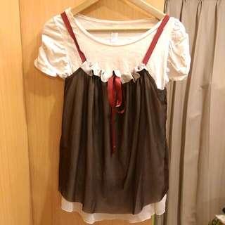 韓國特殊雙層紗質緞帶背心