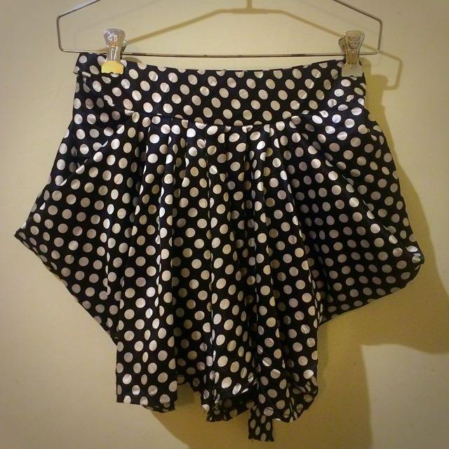 可愛點點垂墜設計感褲裙