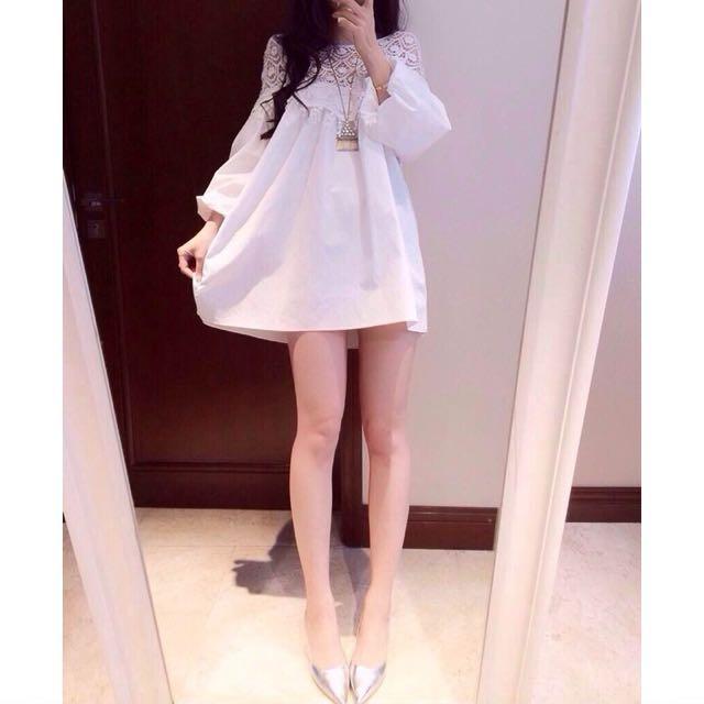 全新.鏤空鉤花蕾絲花邊連衣裙