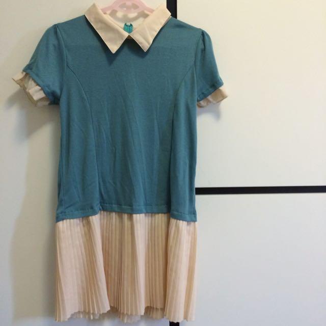 藍綠色百摺下擺假兩件洋裝