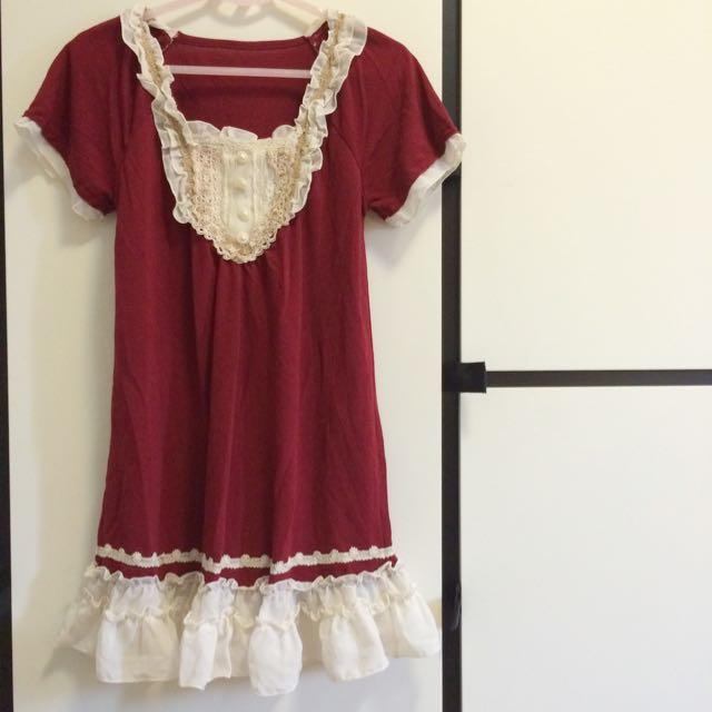 宮廷華麗酒紅洋裝