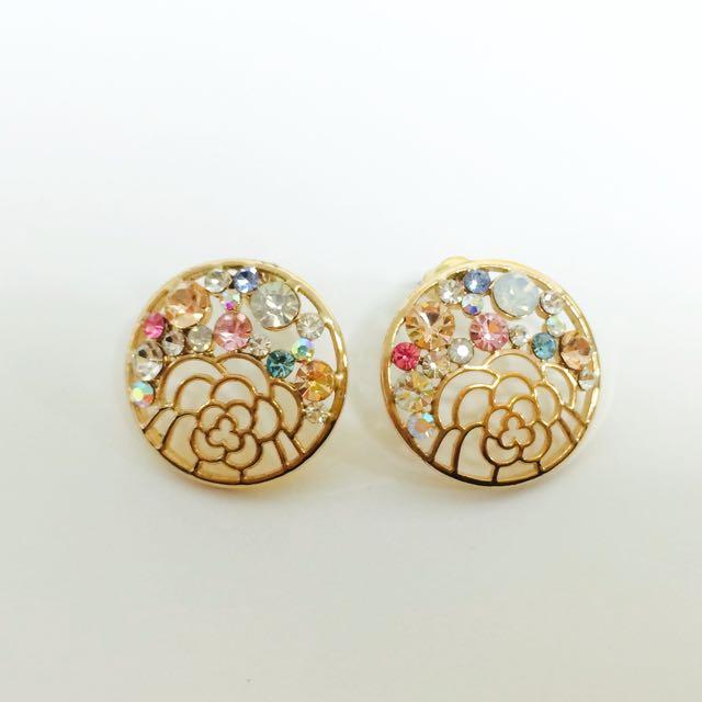 彩色寶石耳環