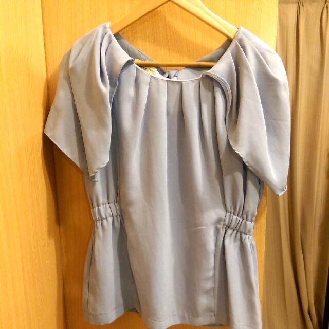 韓國厚雪紡水藍色無袖造型上衣