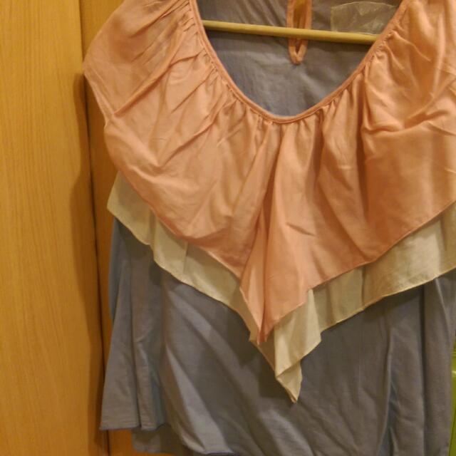 韓國多買造型棉麻撞色無袖寬鬆上衣