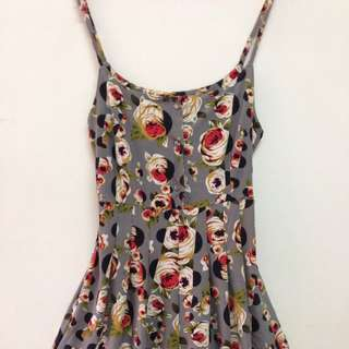 Grey summery floral one piece