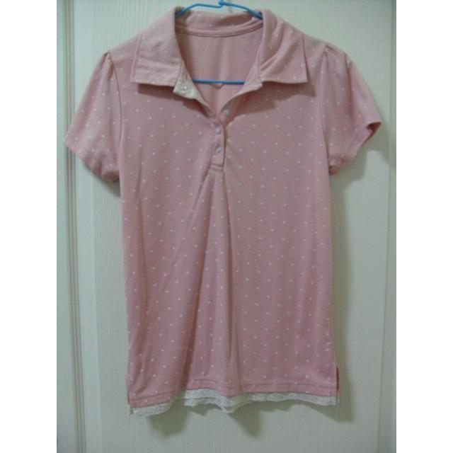 可愛甜美粉紅 蕾絲小星星點點 顯瘦修飾 POLO衫 上衣 T 恤