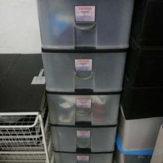 MOVING OUT SALE: Used toyogo 5-level plastic drawer (with rollers)