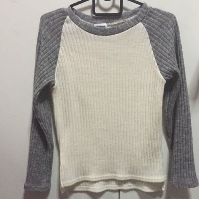 Grey Knit Raglan Top