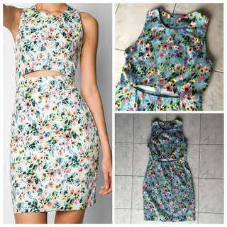 Blue Floral Cut Out Dress