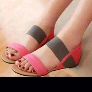 In Stock Pink/Brown Strappy Flats (s40)❤️