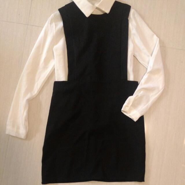 可拆穿兩件式黑白洋裝(可含運)