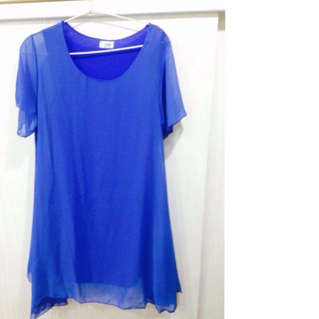 正韓全新藍色雪紡上衣