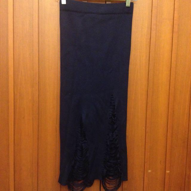 全新深藍針織破裙