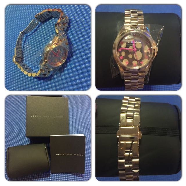 Authentic Marc Jacobs Henry Rose Gold Tone and Pop Pink Watch