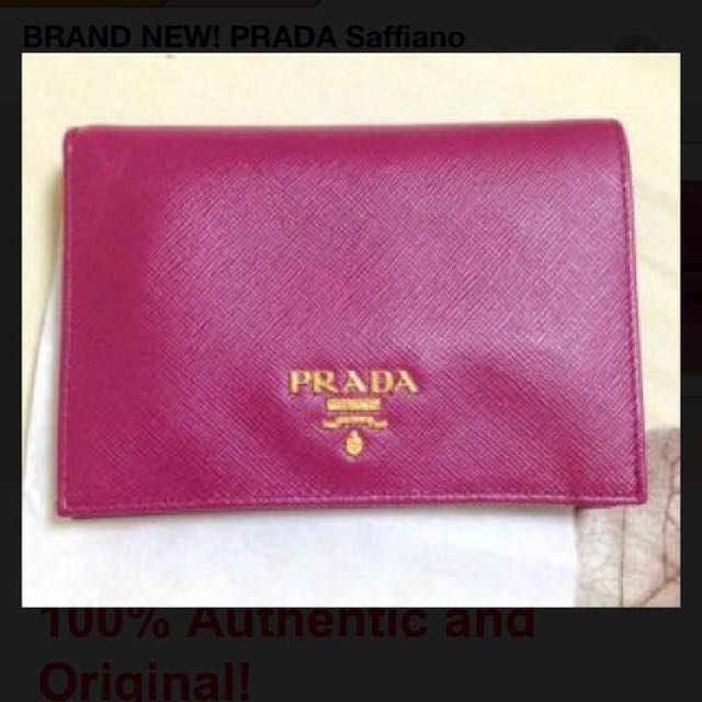 181f319823c7 Prada Saffiano Purple Wallet With Coin Pouch, Luxury on Carousell