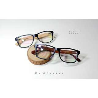 My glasses個人眼鏡-復古木質黑框文青眼鏡-鏡框