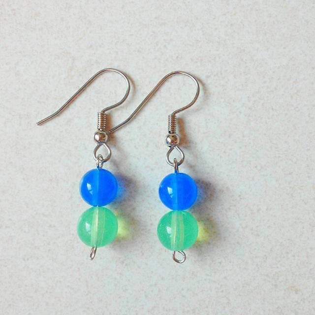 Blue Green Beads Earrings