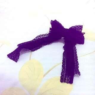 【全新】垂墜感黑蕾絲蝴蝶結馬尾夾