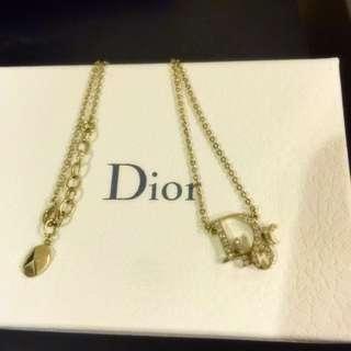 Dior 經典款 玫瑰金 水鑽項鍊