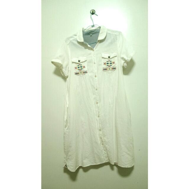 古著長版純白刺繡襯衫