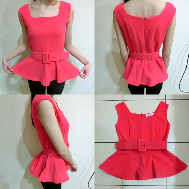 ::全新 顯瘦桃紅小洋裝