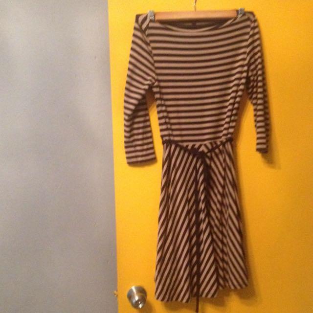 七分袖條紋洋裝