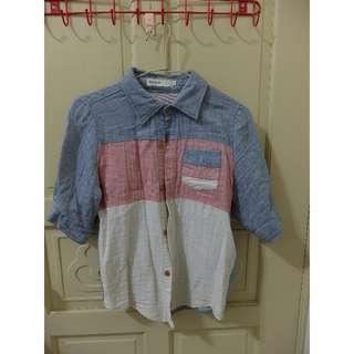 二手 拼布五分袖襯衫