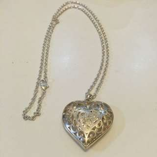 Long Silver Plated Necklace With Heart Pendant