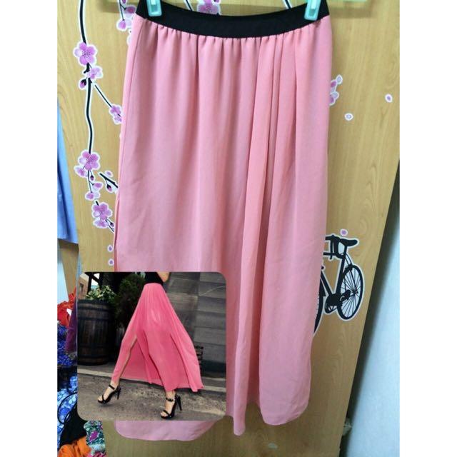 韓國帶回-粉紅內短外絲紗長裙