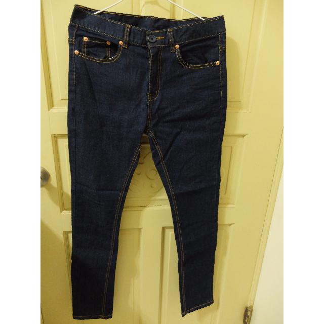 二手 深藍 彈性牛仔褲 (未穿過)