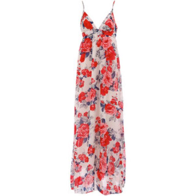 Maxi Dress (floral And Plain Colors)