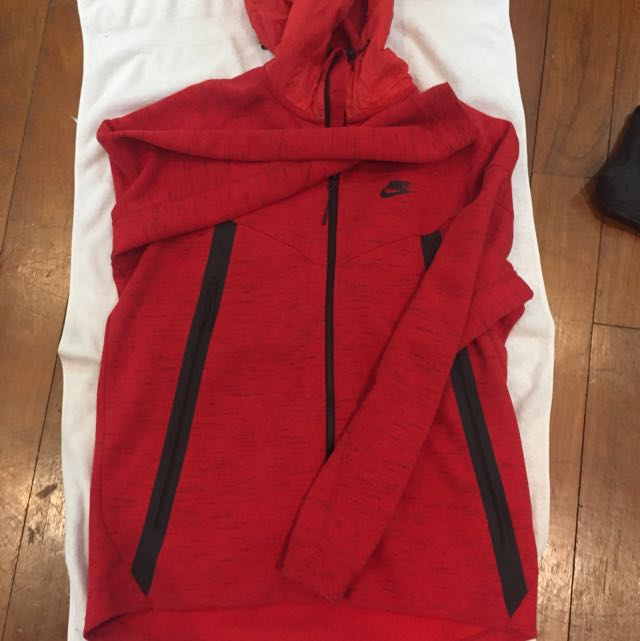 Nike Tech Fleece Red Hoodie Sports On Carousell