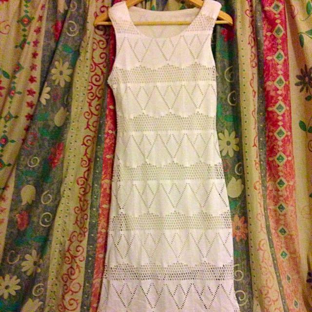 White Midi Bodycon Lace Dress