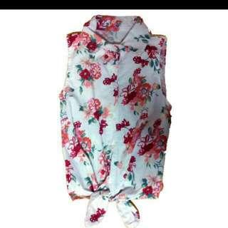 Floral Crop Top Tie Up