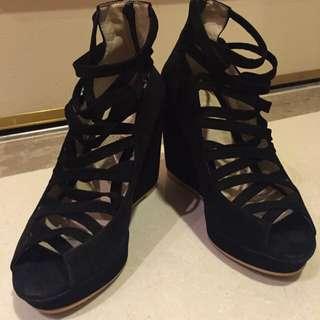 麂皮魚口鞋