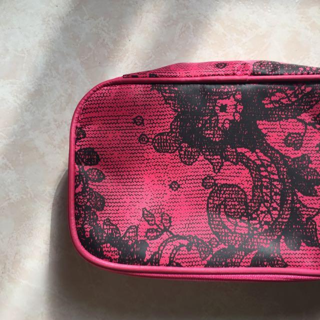 桃紅化妝包 旅行包 收納包