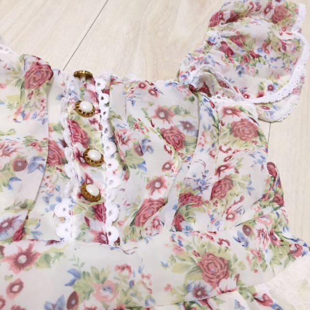 【二手/降價免運費】日雜款生成色碎花雪紡蕾絲洋裝/lizlisa/vivi/pop