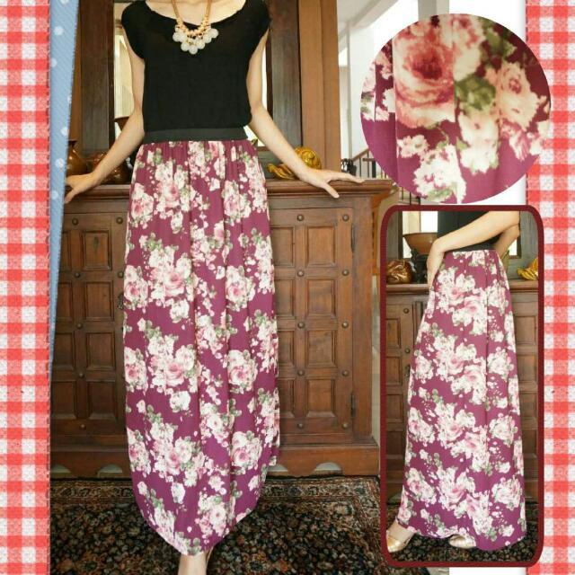 Maroon Chiffon Skirt