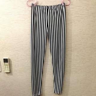 黑白直條 造型內搭褲
