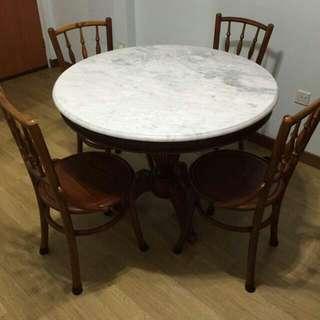 Marble top kopitiam table set Reserved